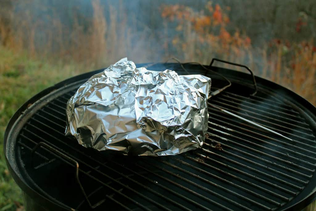 foiled meat on smoker