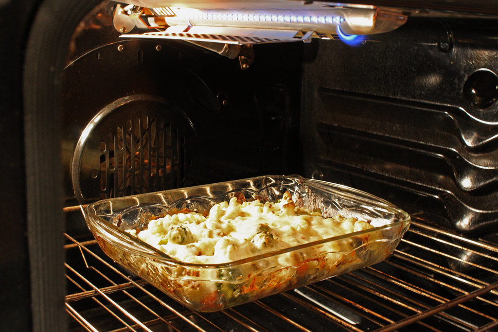 Roasted Vegetable Pasta Bake baking in oven