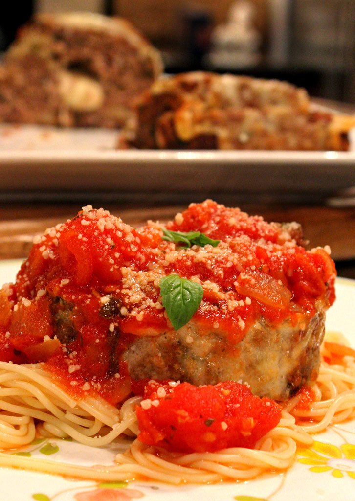 Italian meatloaf on plate ready to eat