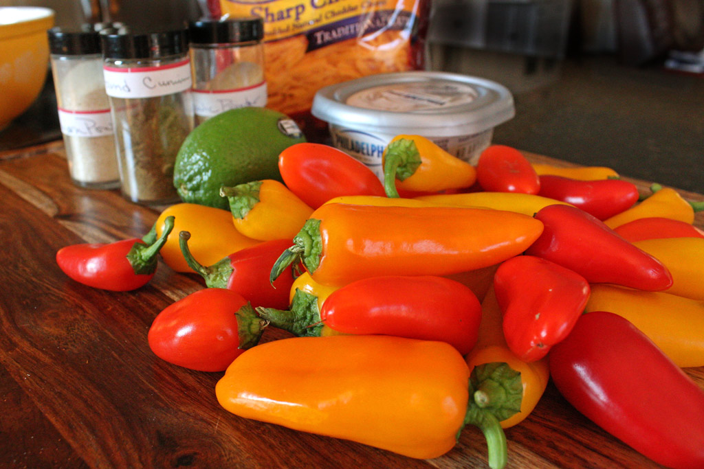 ingredients to make stuffed mini peppers