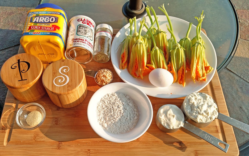 ingredients to make squash blossoms
