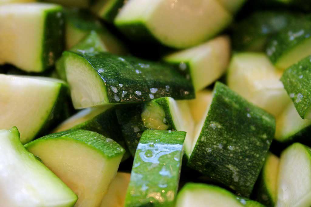 salted zucchini slices