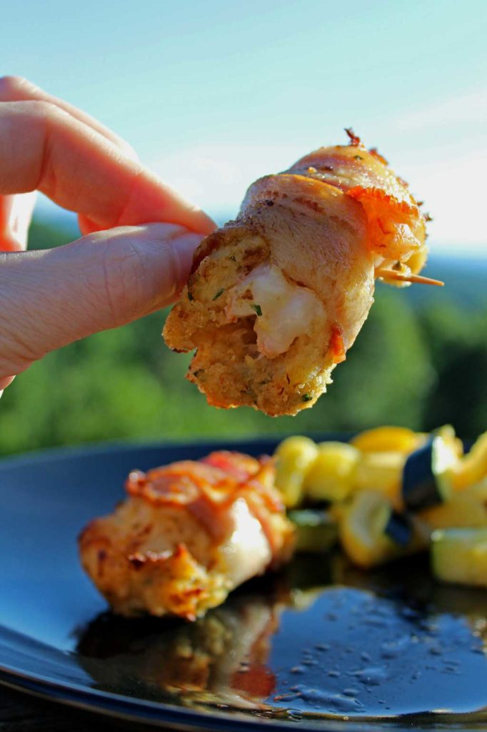 Served as a appetizer or main course, Bacon Wrapped Crab Stuffed Shrimp are made with rich crab meat packed around jumbo shrimp, wrapped in smoky bacon.   TheMountainKitchen.com