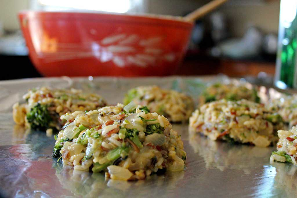 broccoli cheddar rice cakes on sheet pan