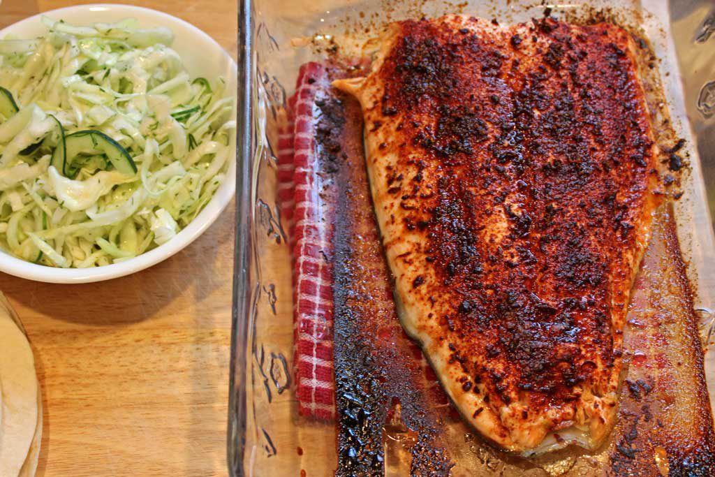 slaw and salmon ready to make tacos