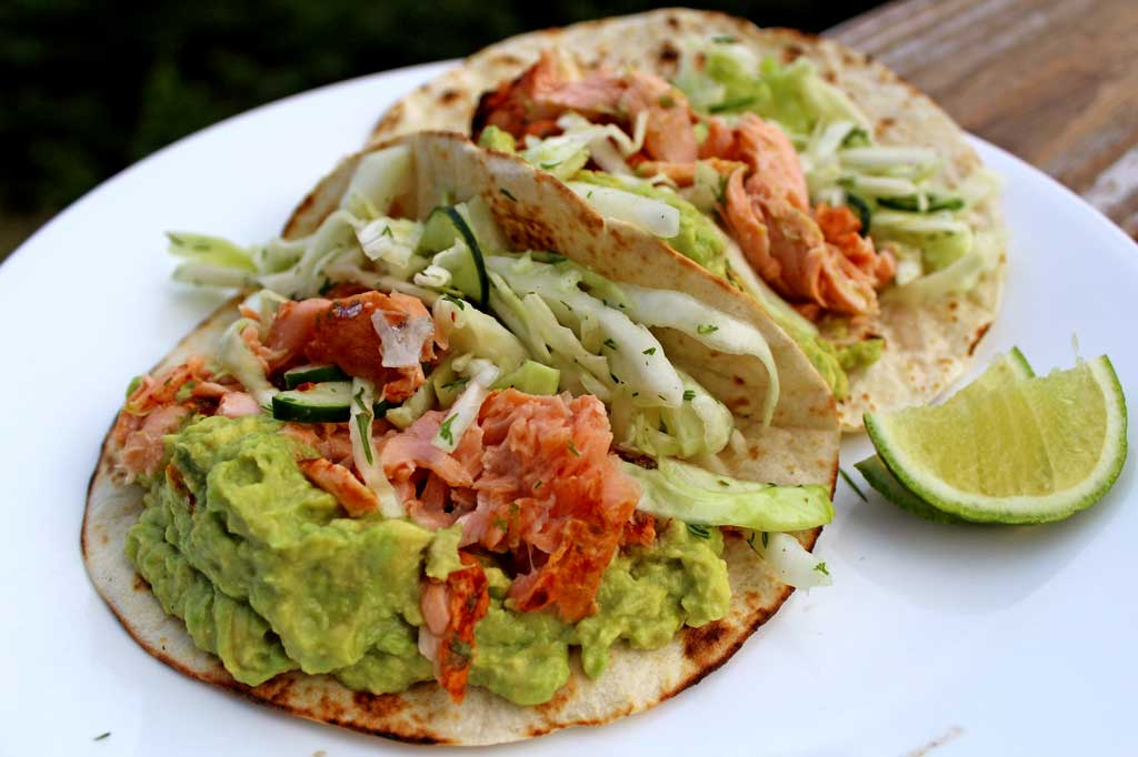 Ina's salmon tacos on a plate