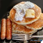 Brighten your day with lemon zest buttermilk pancakes. Buttery and fluffy, with a slight hint of lemony flavor. My favorite pancake recipe of all time! | TheMountainKitchen.com