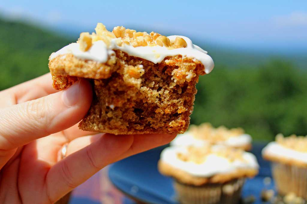 bitten muffin with mountain view