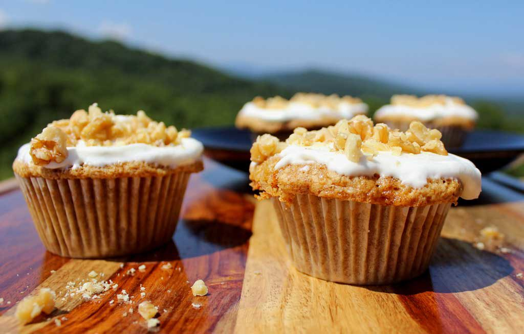 carrot cake muffins with mountain view