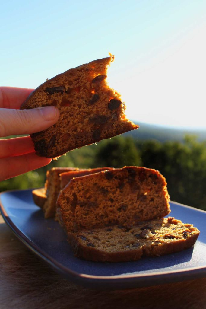 sliced pumpkin cinnamon bread with mountain view