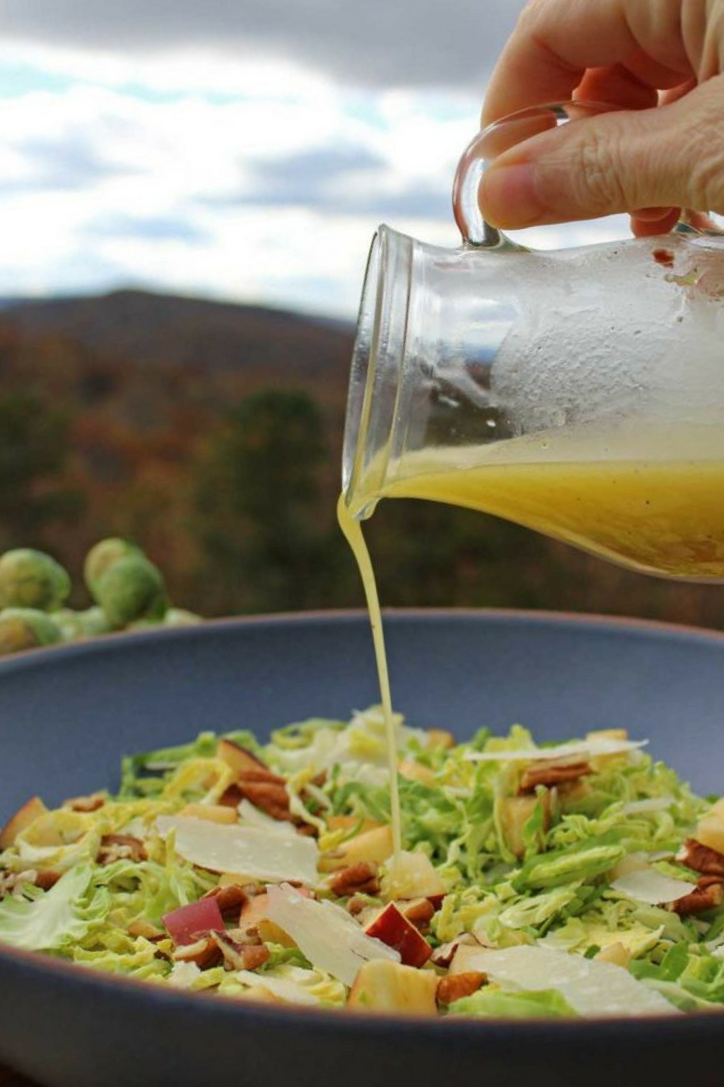 This apple pecan brussels sprout salad is for crunch lovers! Made with shredded brussels sprouts, apples, pecans, parmesan cheese and homemade dressing.