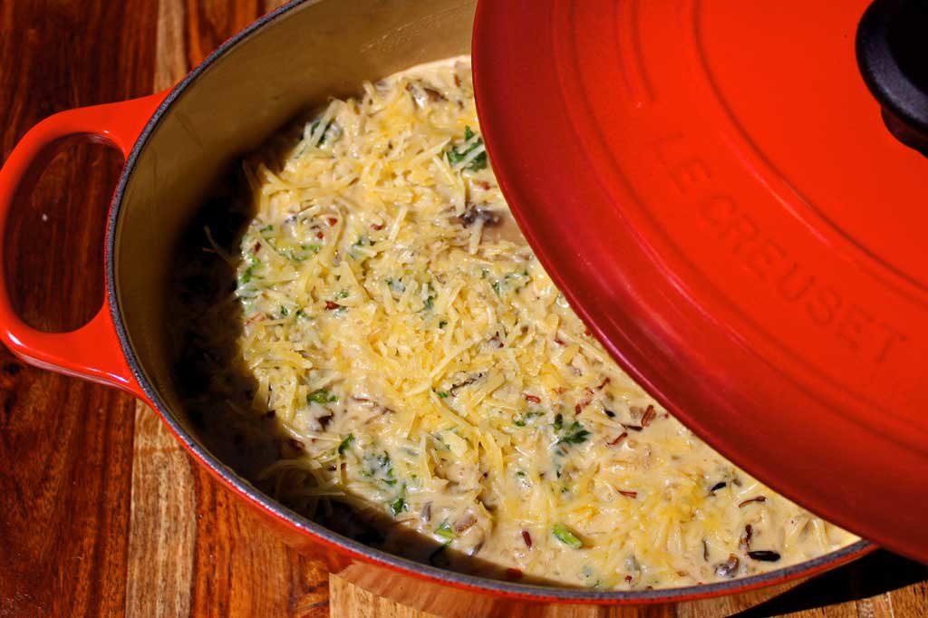 finished kale wild rice and mushroom casserole casserole ready to eat