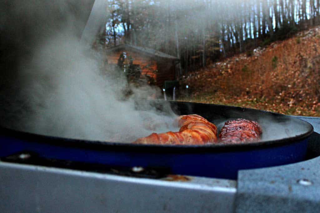 smoking backstraps on grill