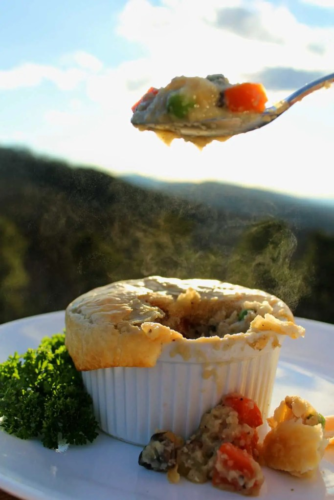 Healthy mushroom pot pies have the comfort of traditional pot pies without all the calories.Mushrooms smothered in cauliflower sauce with flaky crust. Yum!