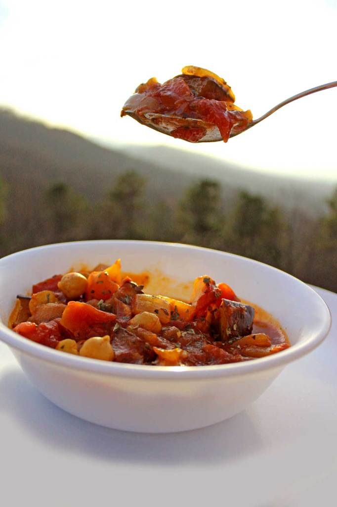 Maghmour is a thick, velvety Lebanese vegetarian eggplant stew with chickpeas, garlic, onions, and tomatoes with a smoky, slightly spicy flavor. The Moussaka of Lebanon! | TheMountainKitchen.com