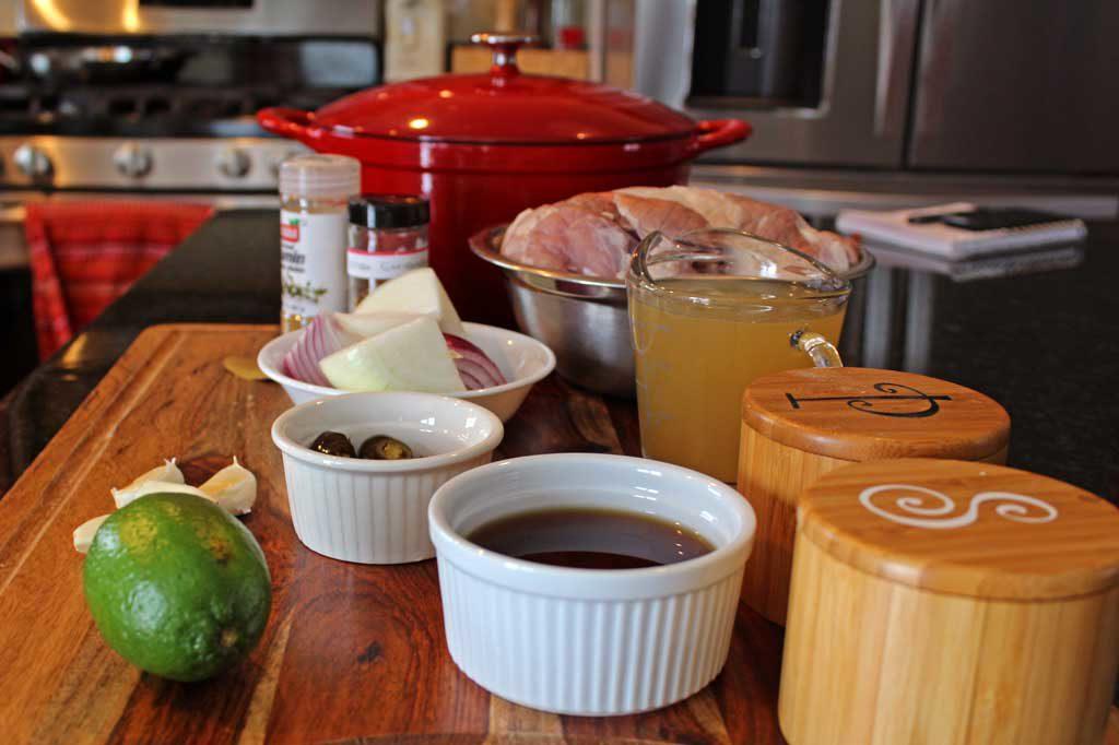 ingredients to make oven-roasted pork carnitas