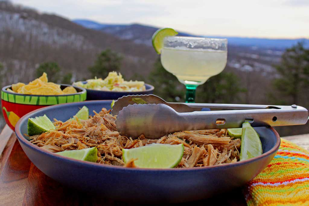pork carnitas with margaritas and mountain view