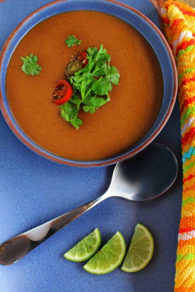 bowl of black bean soup ready to eat