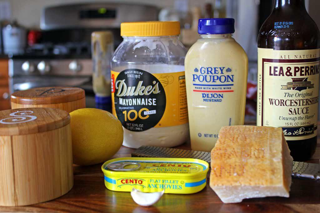 ingredients to make creamy caesar dressing