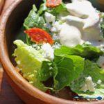 creamy Ceasar dressing on salad