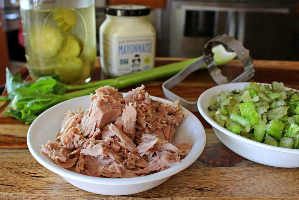 ingredients to make classic tuna fish salad