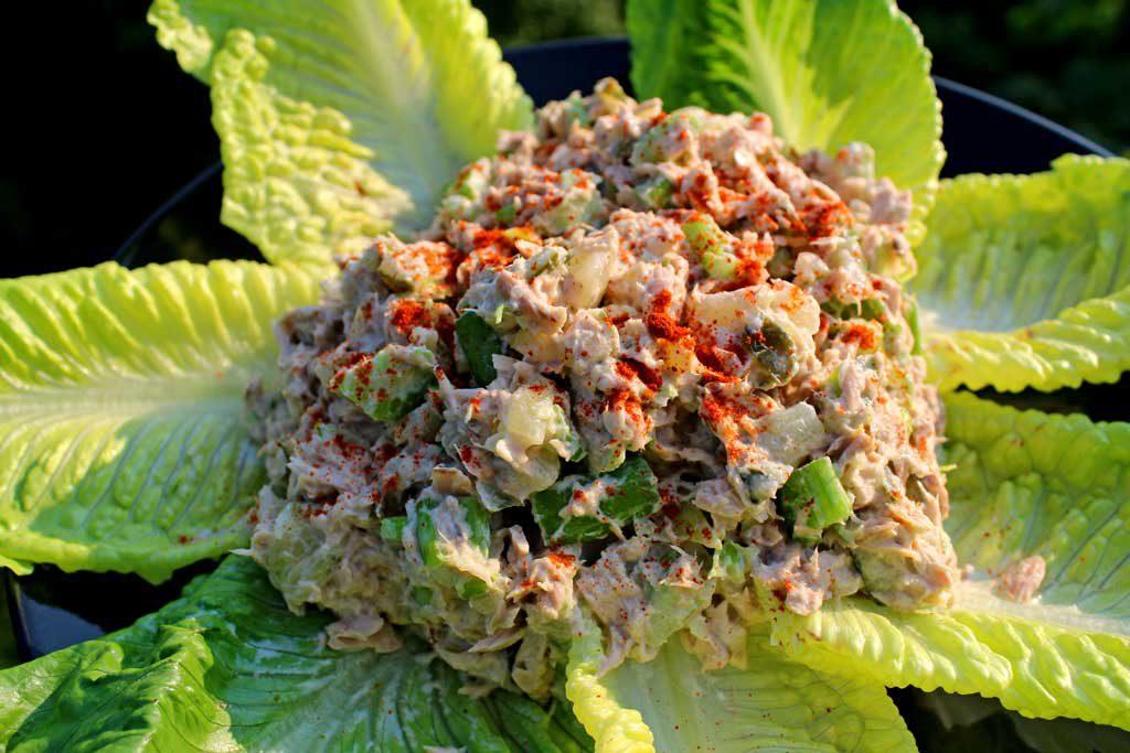 classic tuna fish salad on bed of lettuce