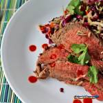 This is a quick and easy Grilled Thai Steak Salad is infused with such amazing Asian flavor. Crisp salad paired with grilled flank steak. Try it tonight! | TheMountainKitchen.com