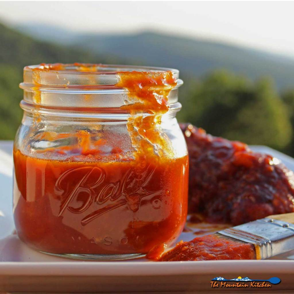 jar of spicy chipotle peach barbecue sauce