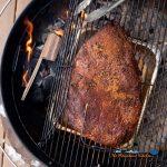 pastrami smoking on grill