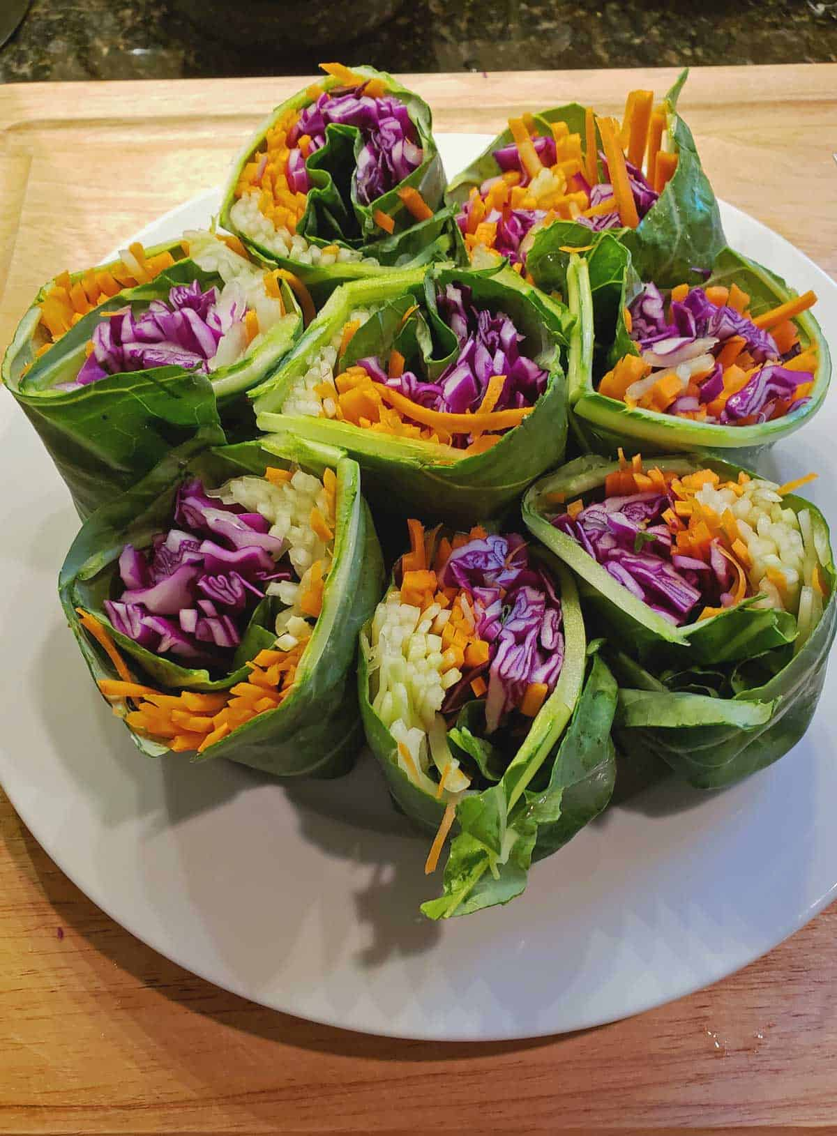 Rainbow Roll-ups, a quick healthy lunch or a surprising party appetizer for all of your family and friends to enjoy. Pass the peanut sauce, please!