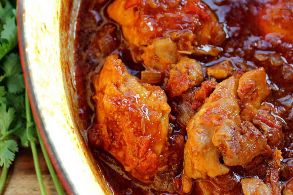 Mexican deviled chicken in serving dish