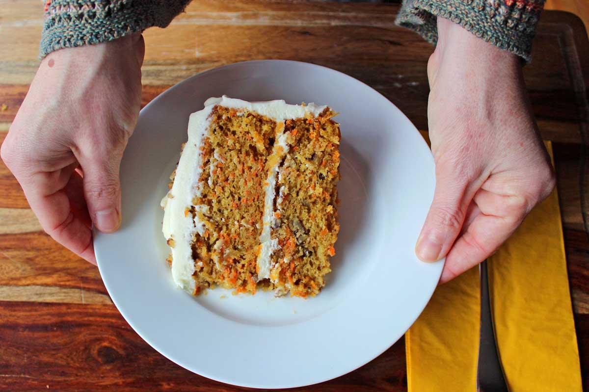 serving ultimate carrot cake