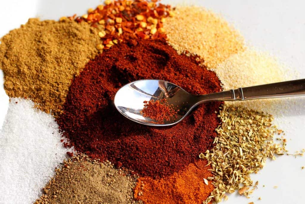 spices with spoon
