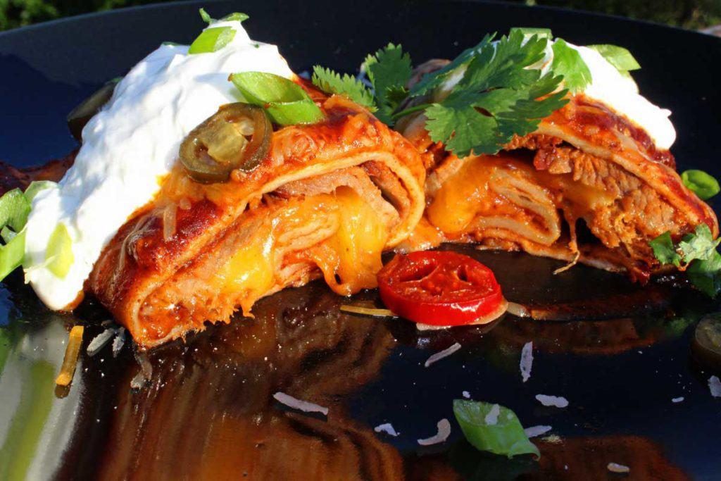 brisket enchilada sliced open