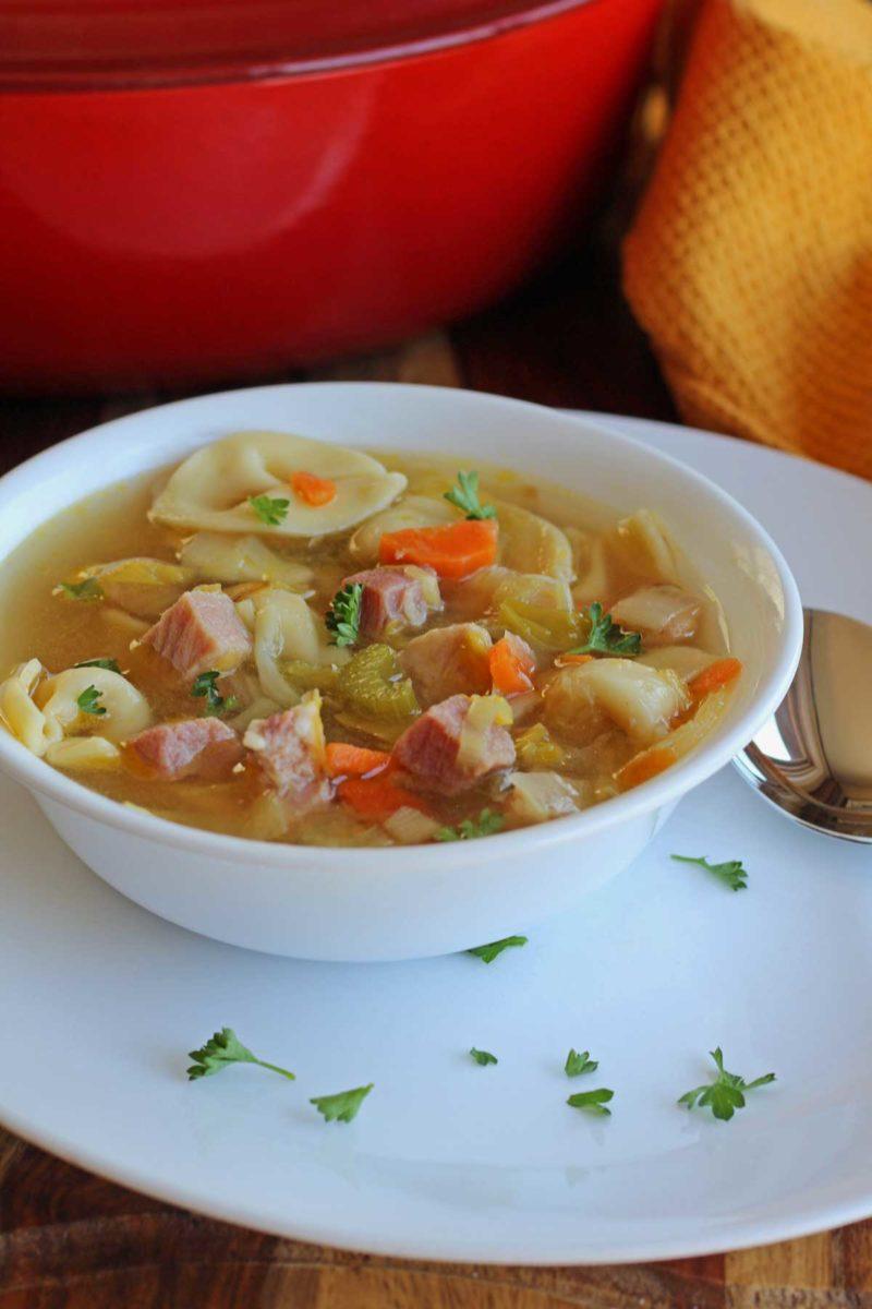 a bowl of tortellini in brodo