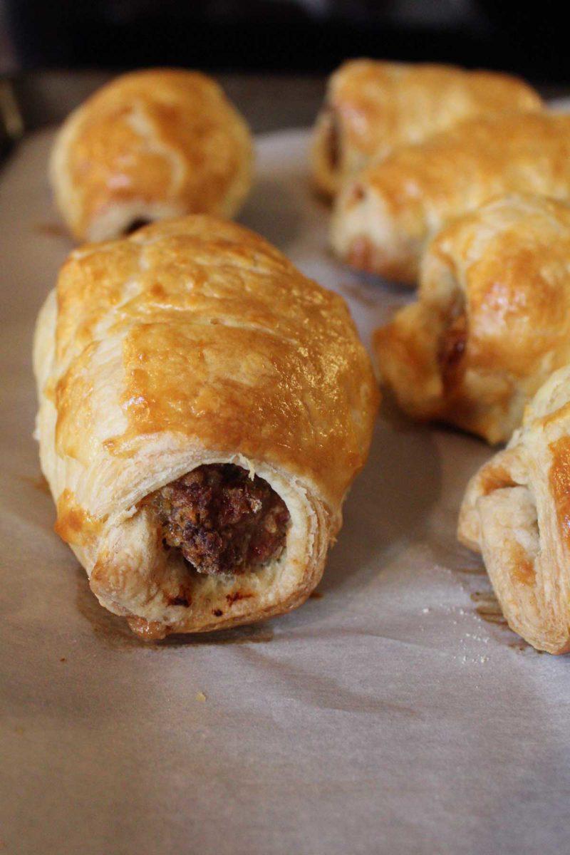 brown flaky sausage rolls