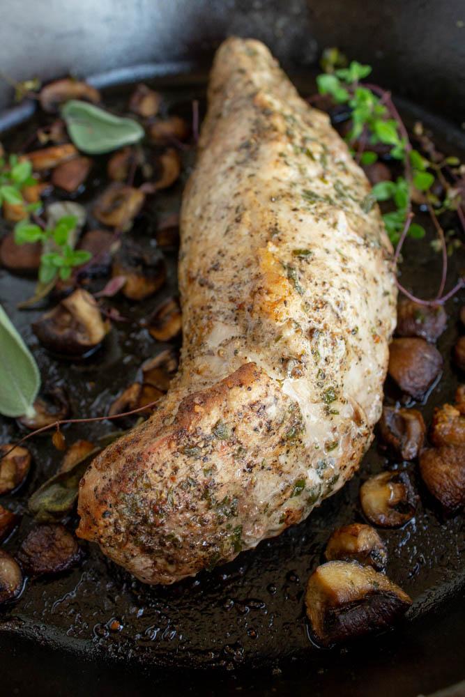 seared tenderloin in a pan