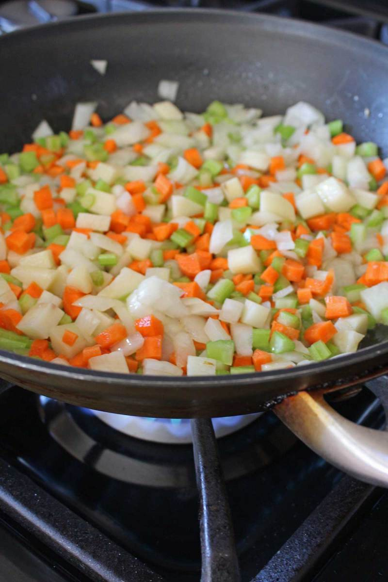 vegetables cooking in a pan