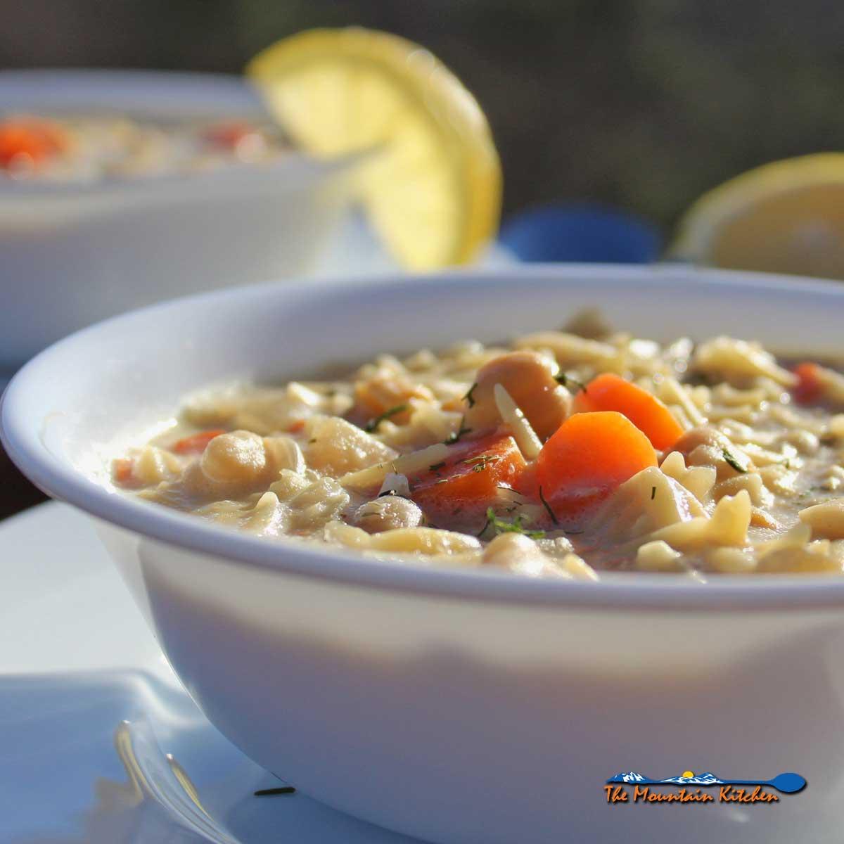 Lemon Chickpea Orzo Soup {A Meatless Monday Recipe