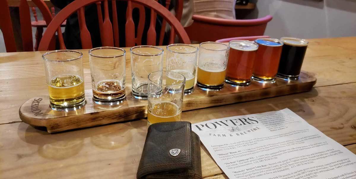 a flight of beer