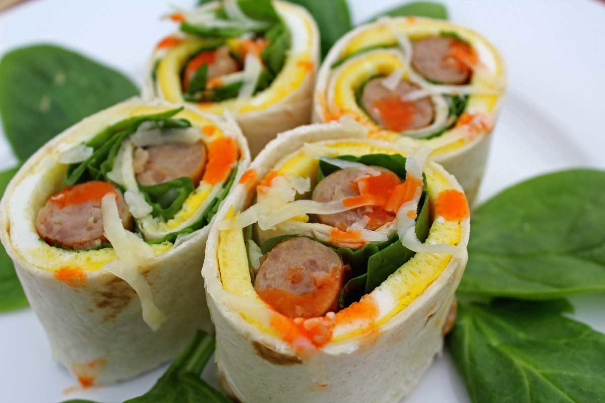 breakfast roll-ups on a plate
