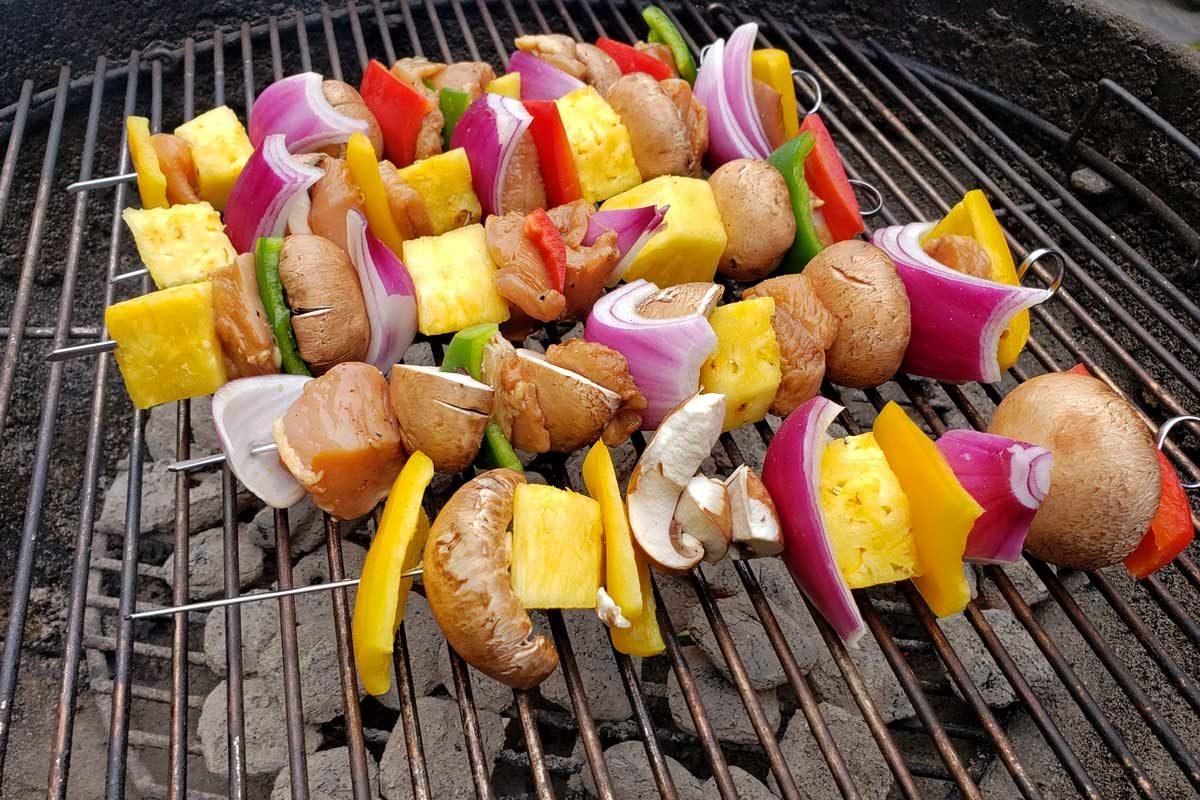 teriyaki chicken kabobs on grill