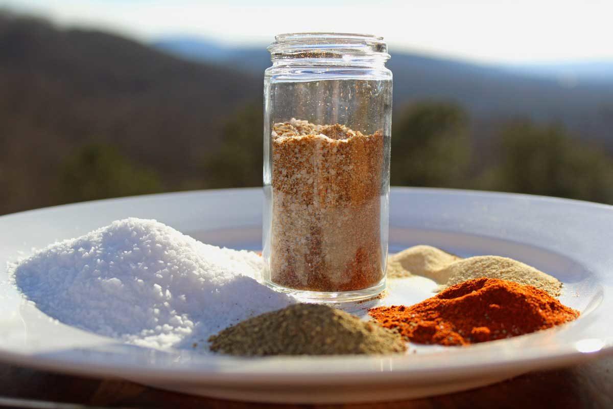 seasoned salt with mountain view