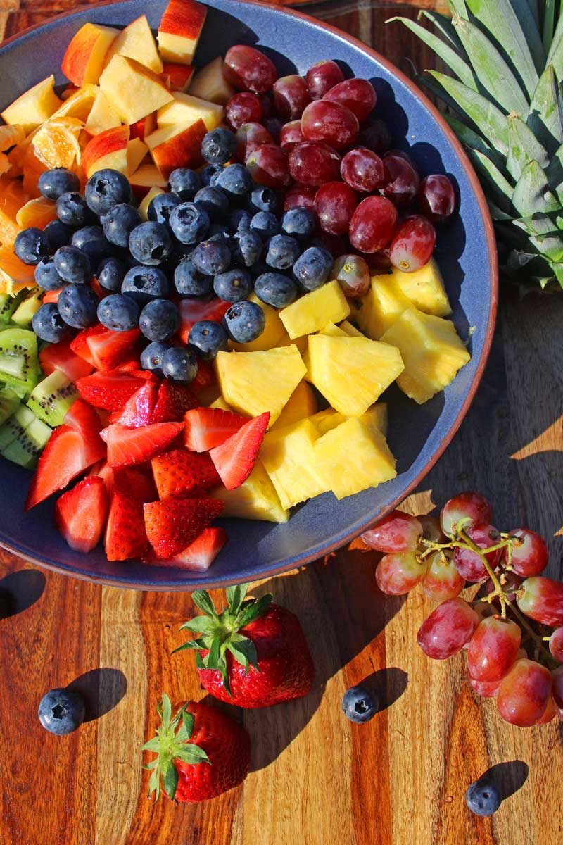 fruit ready to mix in bowl
