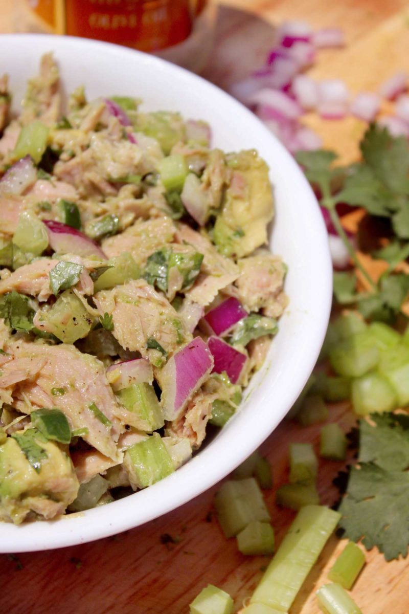 bowl of easy avocado tuna salad