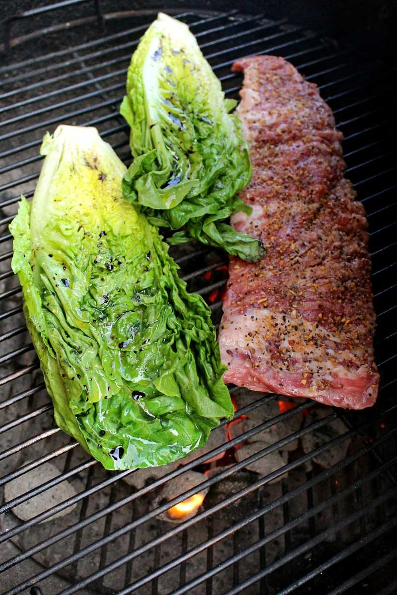 lettuce and steak on grill