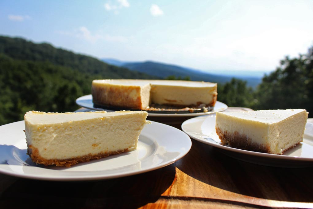 the best cheesecake ever sliced with mountain view