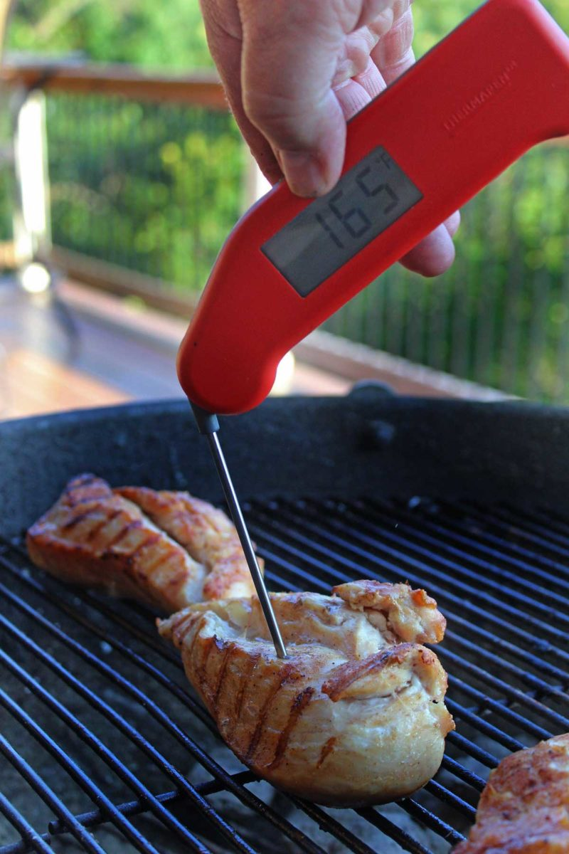 checking temp of chicken with Thermapen