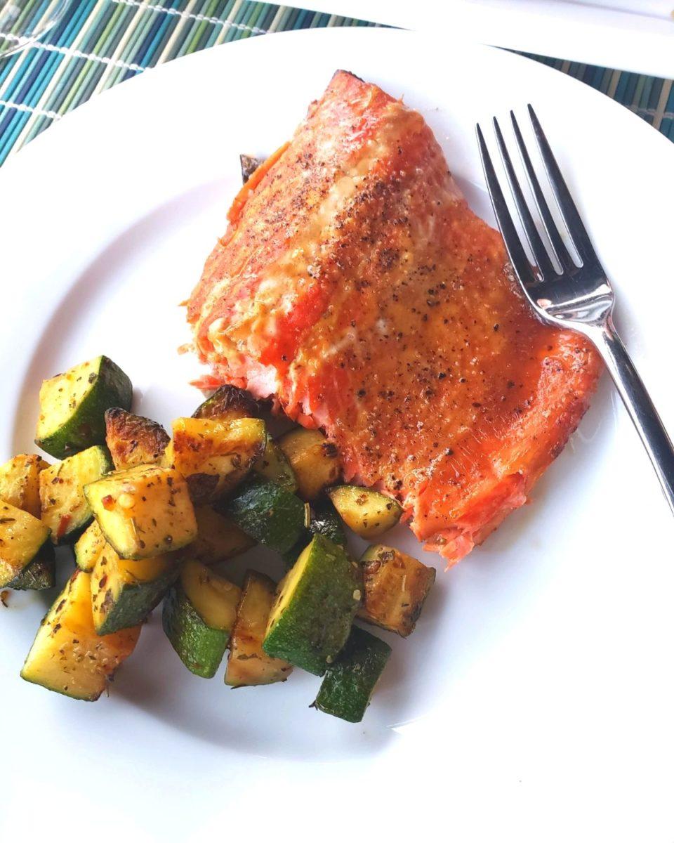Field Trip Friday cedar plank smoked salmon with zucchini on plate