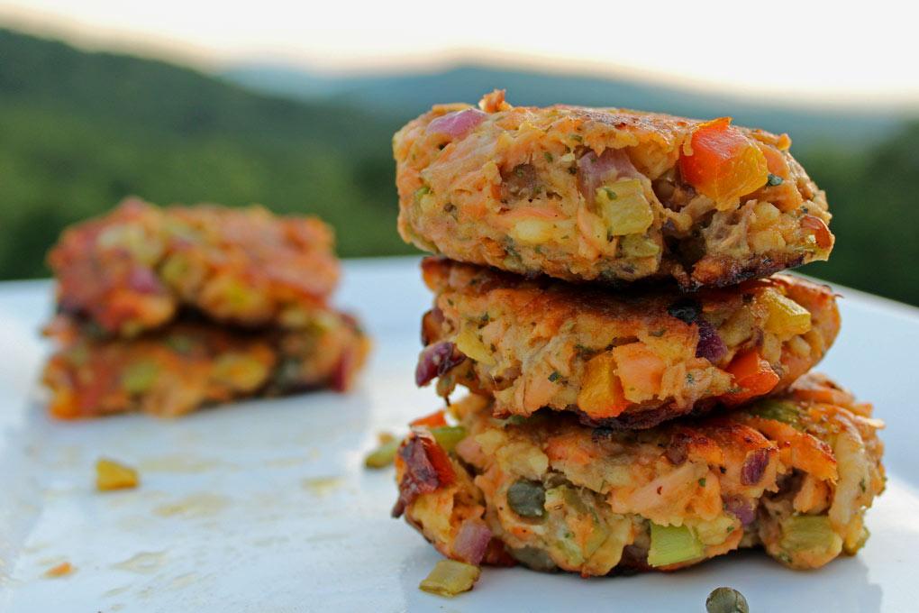 deviled salmon cakes with mountain view